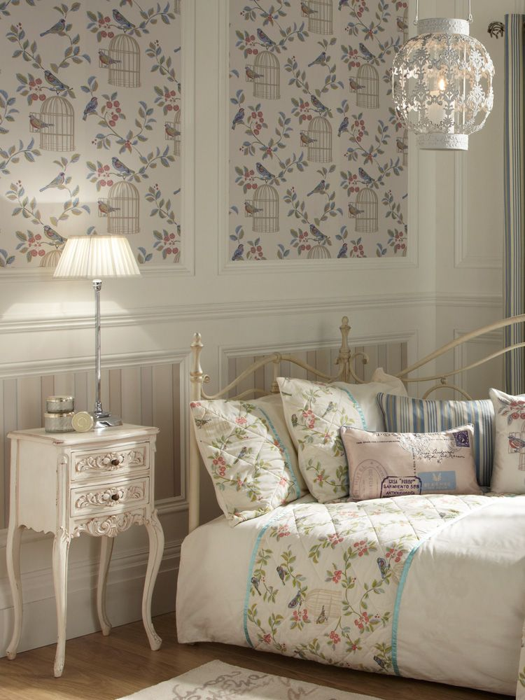 Vintage Charm Blue Bird Cage Wallpaper Bird Wallpaper Uk Vintage Colour Palette Vintage Bird Wallpaper Wallpaper Uk