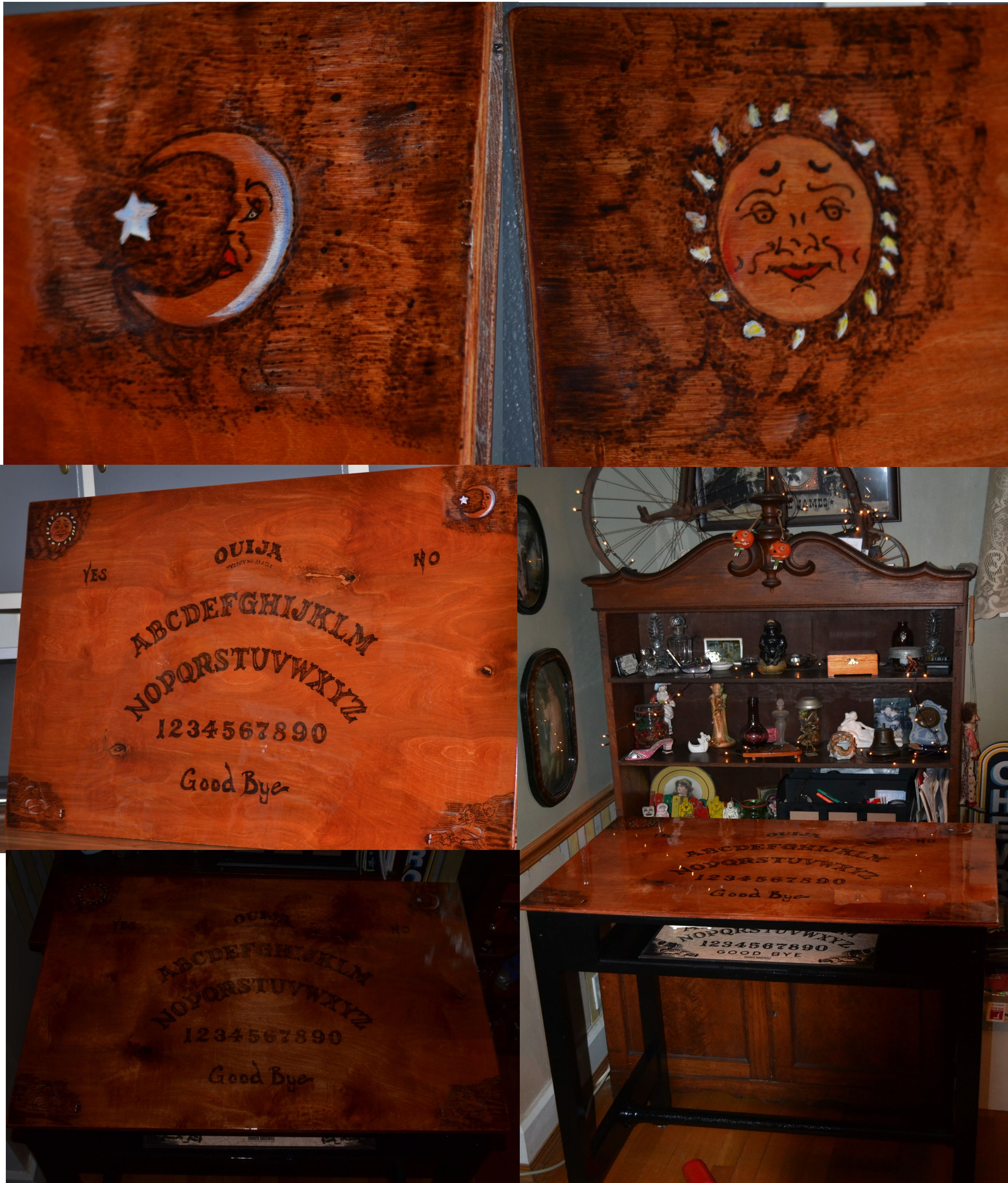 Bar sized Ouija Board table Made with poplar wood top wood