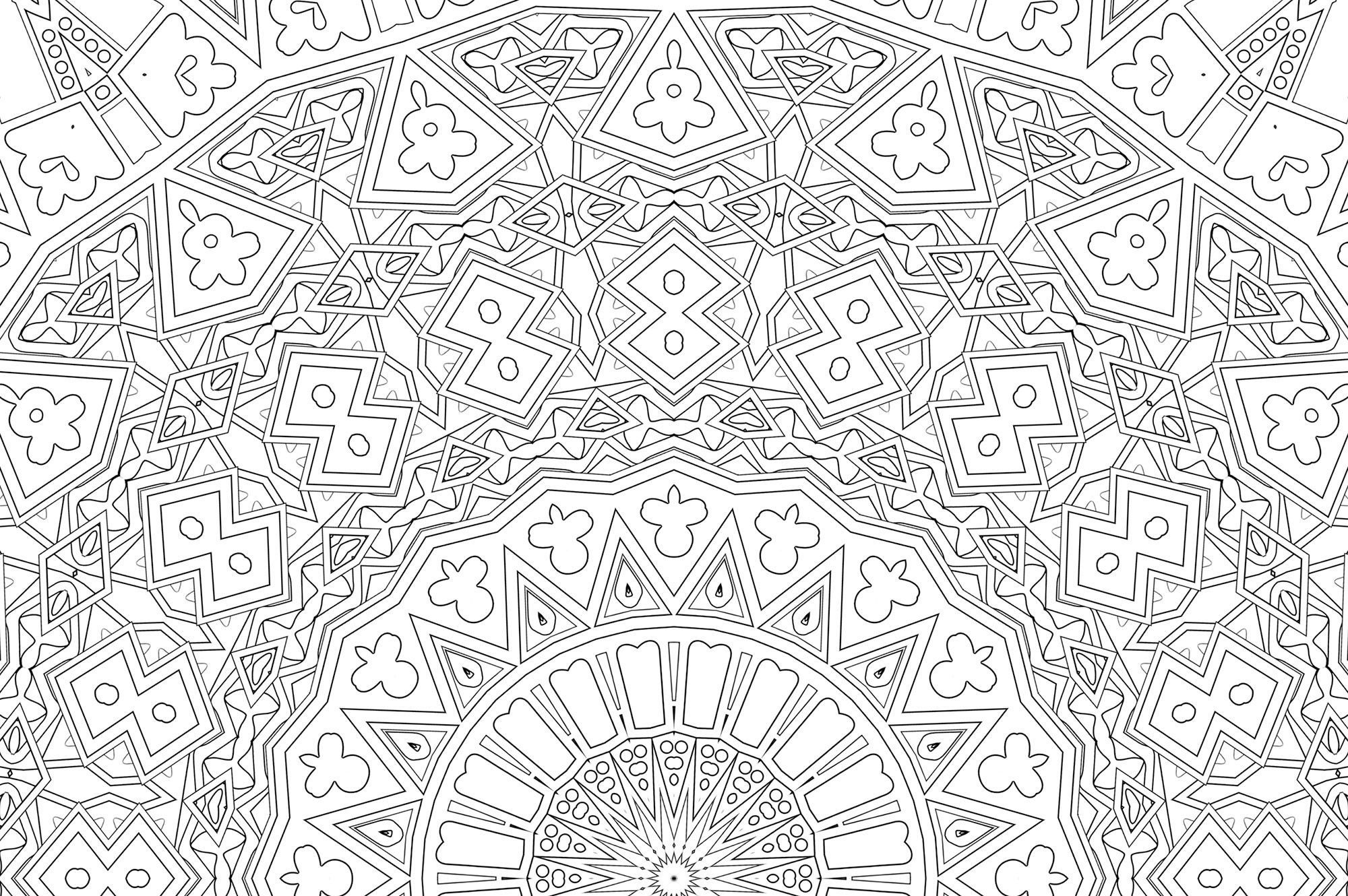 Printable Kaleidoscope Coloring Page Kaleidoscope Visions