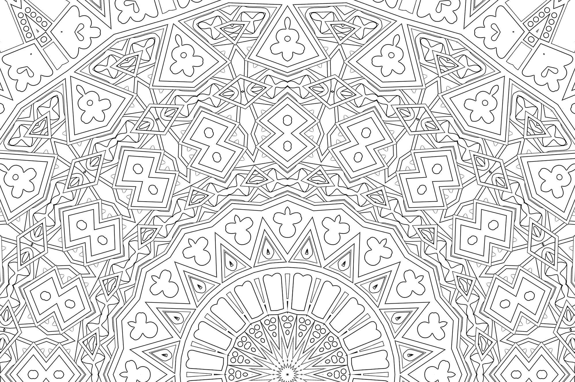 Printable Kaleidoscope Coloring Page Kaleidoscope Visions