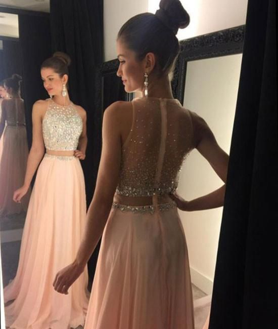 a903a9805f A-line round neck pink chiffon sequin long prom dress
