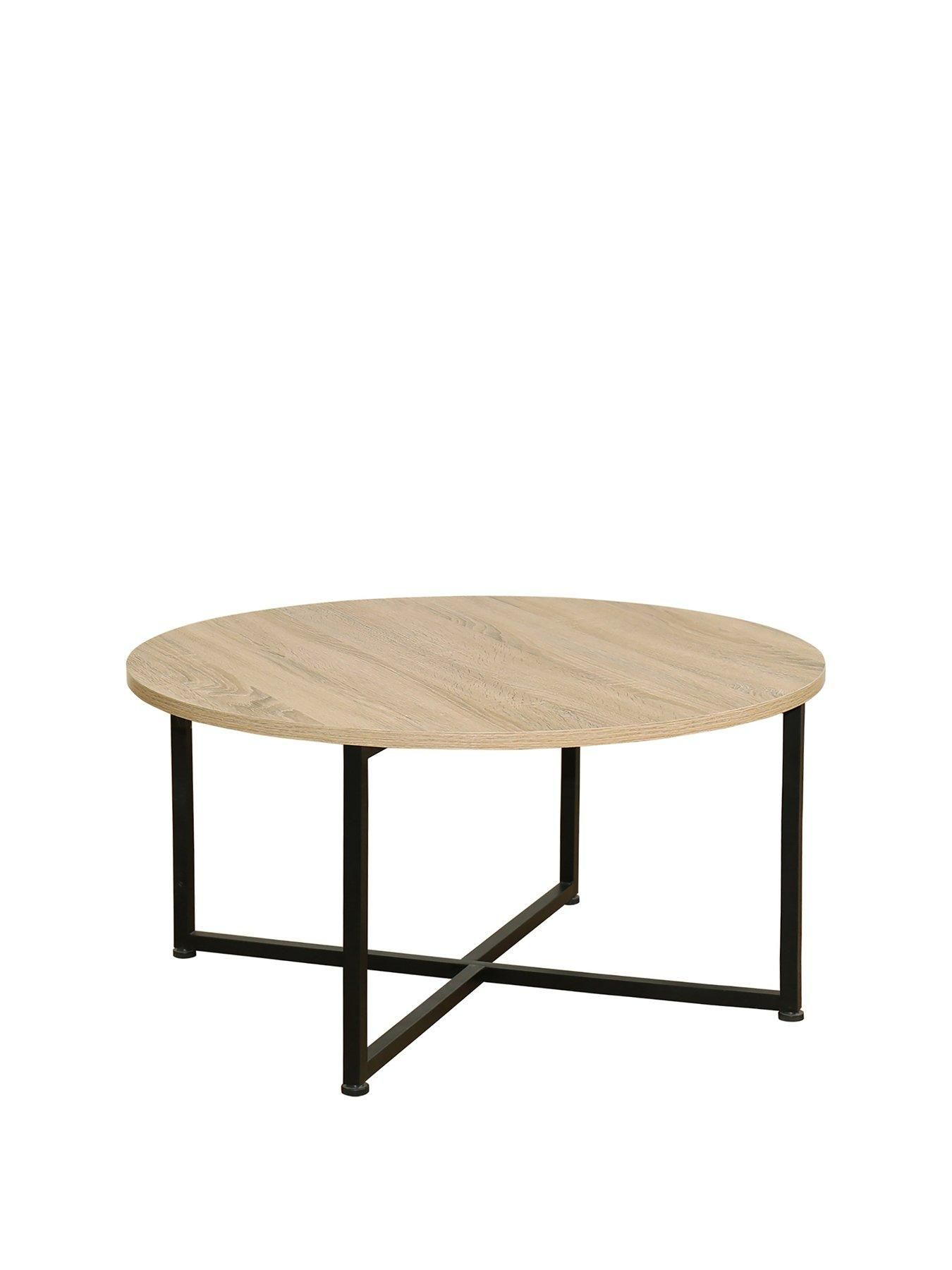 Telford Industrial Round Coffee Table Rustic Oak Round