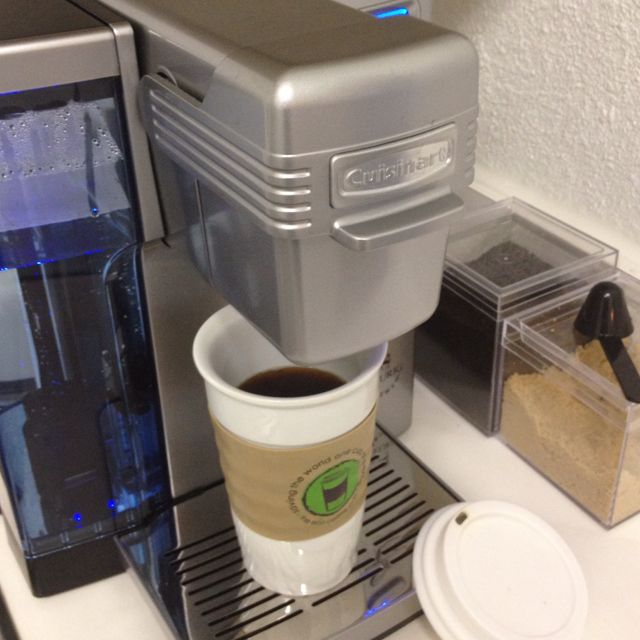 Cuisinart Coffee Maker with refillable Keurig filters. FYI: The coffee mug is ceramic with a ...