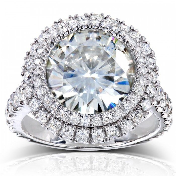 Double Halo Forever Brilliant Moissanite and Diamond Engagement Ring 6 1/10 CTW in 14k White Gold