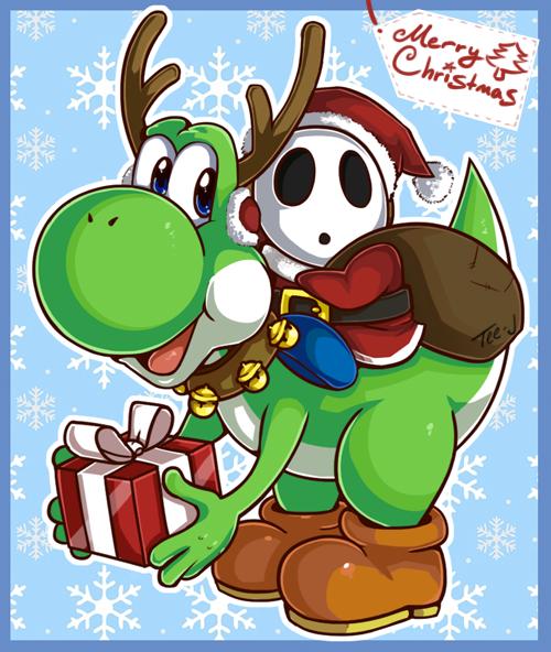 Merry Christmas Christmas Cartoon Characters Mario Art Cute Christmas Wallpaper