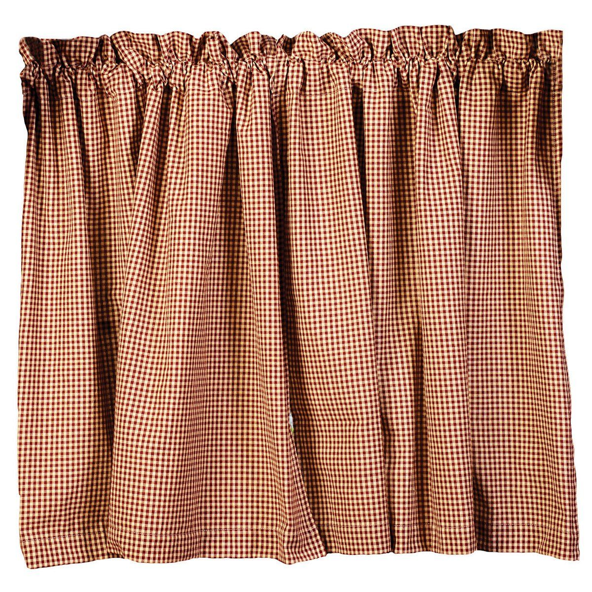 Burgundy Check Stars And Berries Country Curtain Tiers 24 30 36