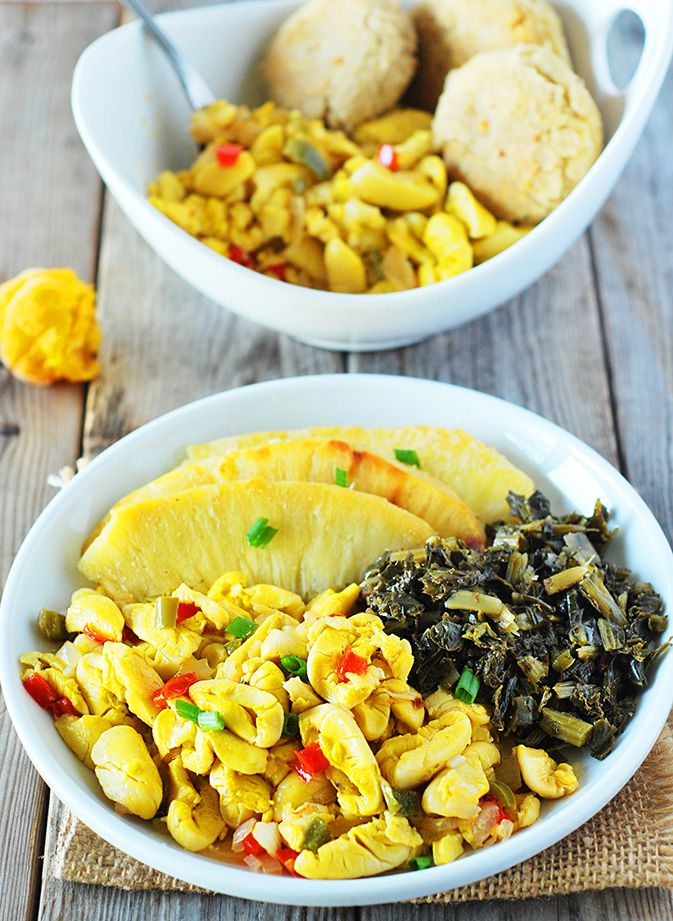 Enjoy vegan ackee, this amazing fruit reminds me of