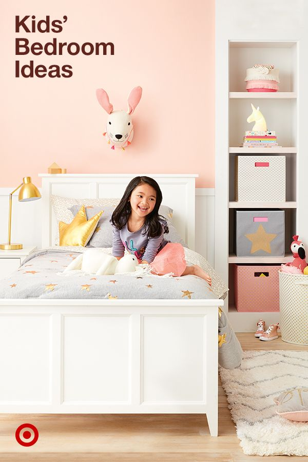 Create a cozy bedroom with small-space ideas & cute kids' decor, from unicorns to a splash of gold colors on bedding & furniture.