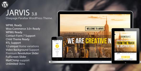 jarvis v3 8 onepage parallax wordpress theme blogger template web