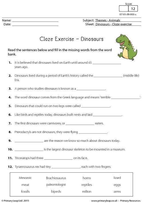 PrimaryLeap.co.uk - Cloze Exercise - Dinosaurs Worksheet | English ...