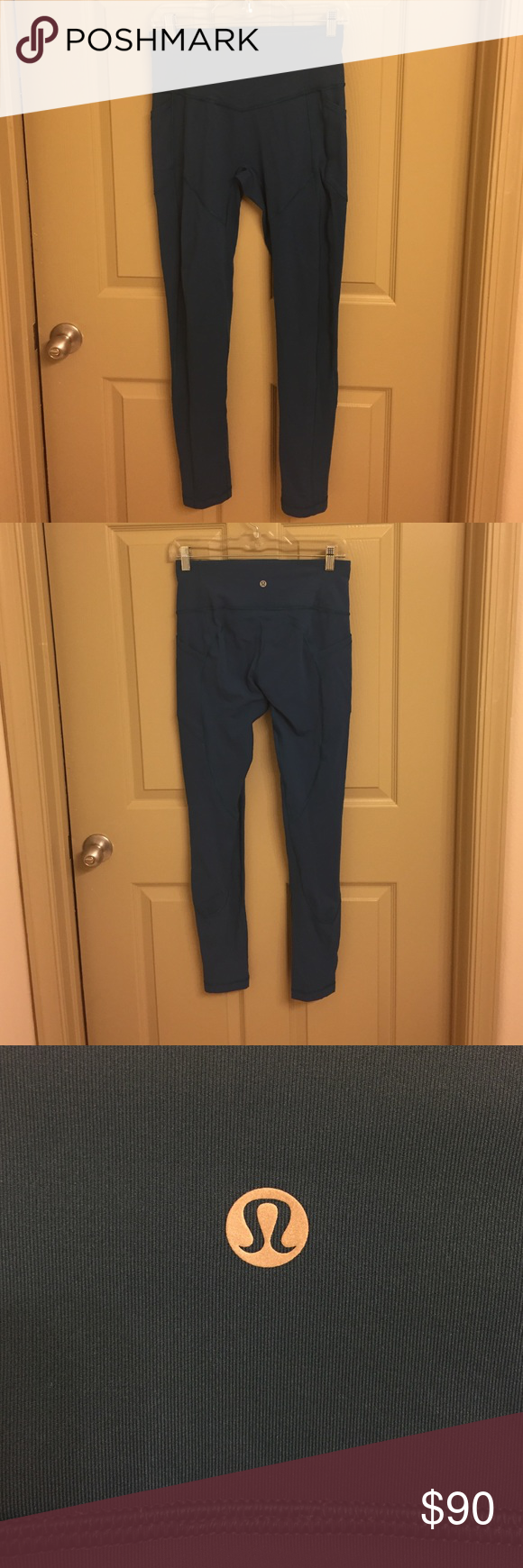 Lululemon all the right places pant Lululemon all the right places pant in teal. Sold out online worn only twice. Reflective detail when you cuff the pant leg as well as side pockets lululemon athletica Pants Leggings