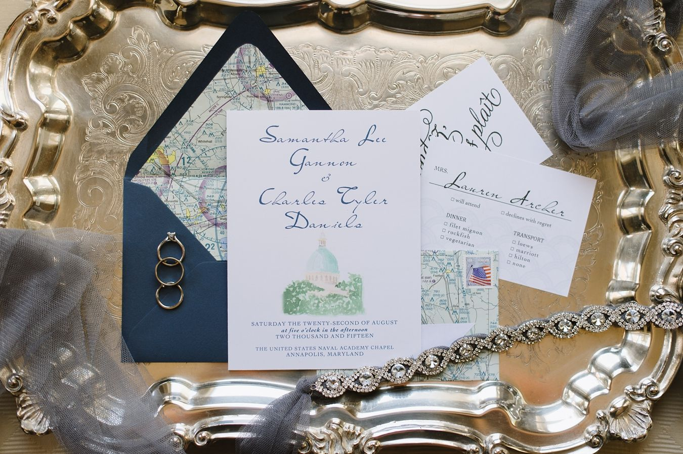 Invitations were styled with recycled aeronautical charts | Wedding ...