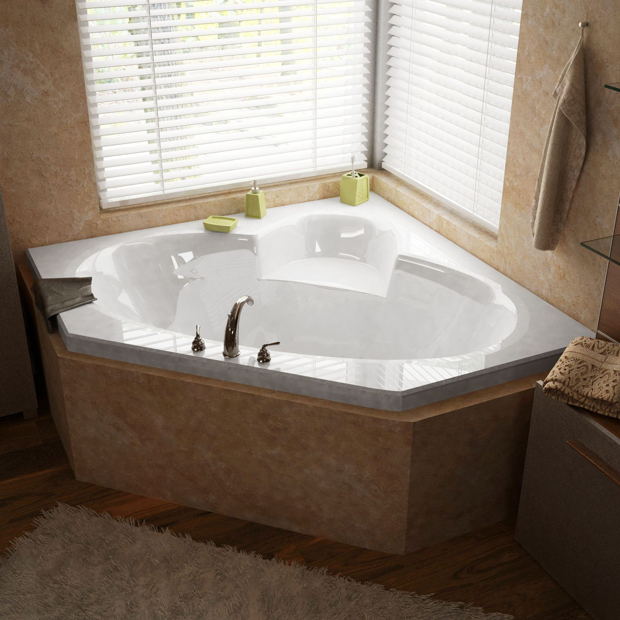 Venzi VZ6060SAR Ambra 60 x 60 Corner Air Jetted Bathtub with Center ...
