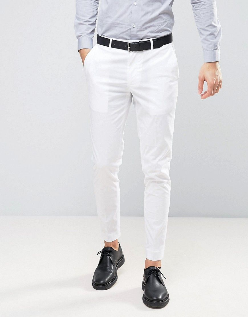 Asos Wedding Skinny Suit Pant In Stretch Cotton In White White White Pants Men Pants Outfit Men Mens White Dress Pants [ 1110 x 870 Pixel ]