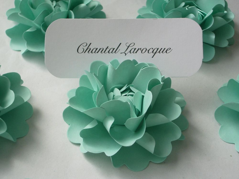 Place Card Holders Handmade Paper Flower by ... |Flowers For Wedding Place Card