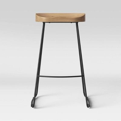 Hull Low Back Barstool Wood Metal Threshold In 2020 Bar Stools Dining Room Furniture Collections Natural Dining Room