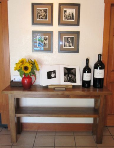 Solid reclaimed teak console at Else Winery.