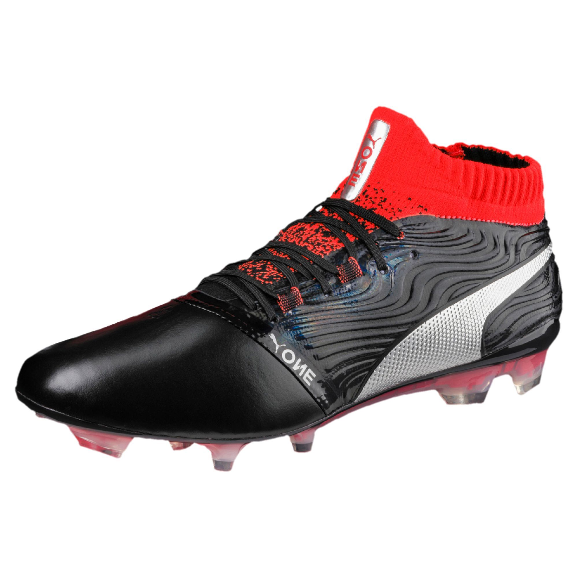 dbfc5c5627 #football #soccer #futbol Puma One 18.1 FG - Puma Black / Puma Silver / Red  Blast
