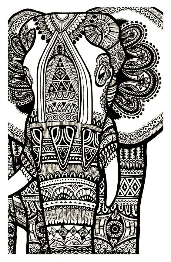 Complicated Elephant Coloring Pages. coloring elephant te print for free  Mandala Coloring Page