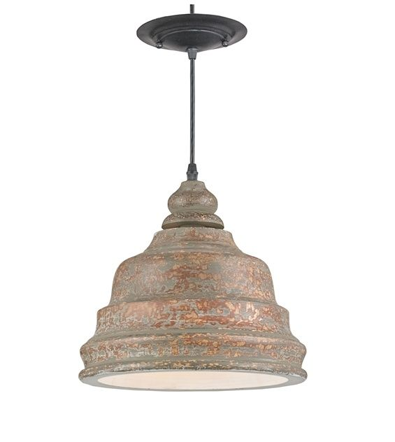 Stunning Bell Shaped Pendant Distressed Natural Wood Forms The