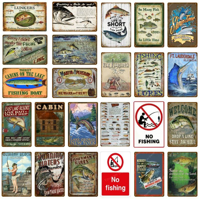 "Photo of ""Fishing Boat Decor No Fishing Vintage Tin Signs Retro Poster Wall Decor For Lak…"