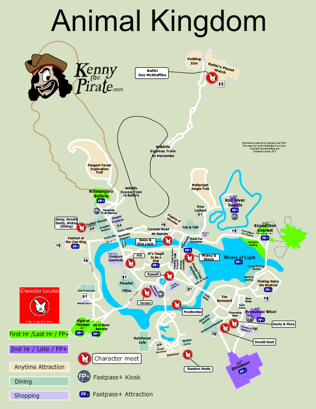 Disneyland Locations World Map.Animal Kingdom Map With Character Locations Disney Animal
