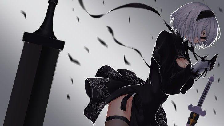 Nier Automata Yorha 2b Game Girl Art Wallpaper Anime Canvas