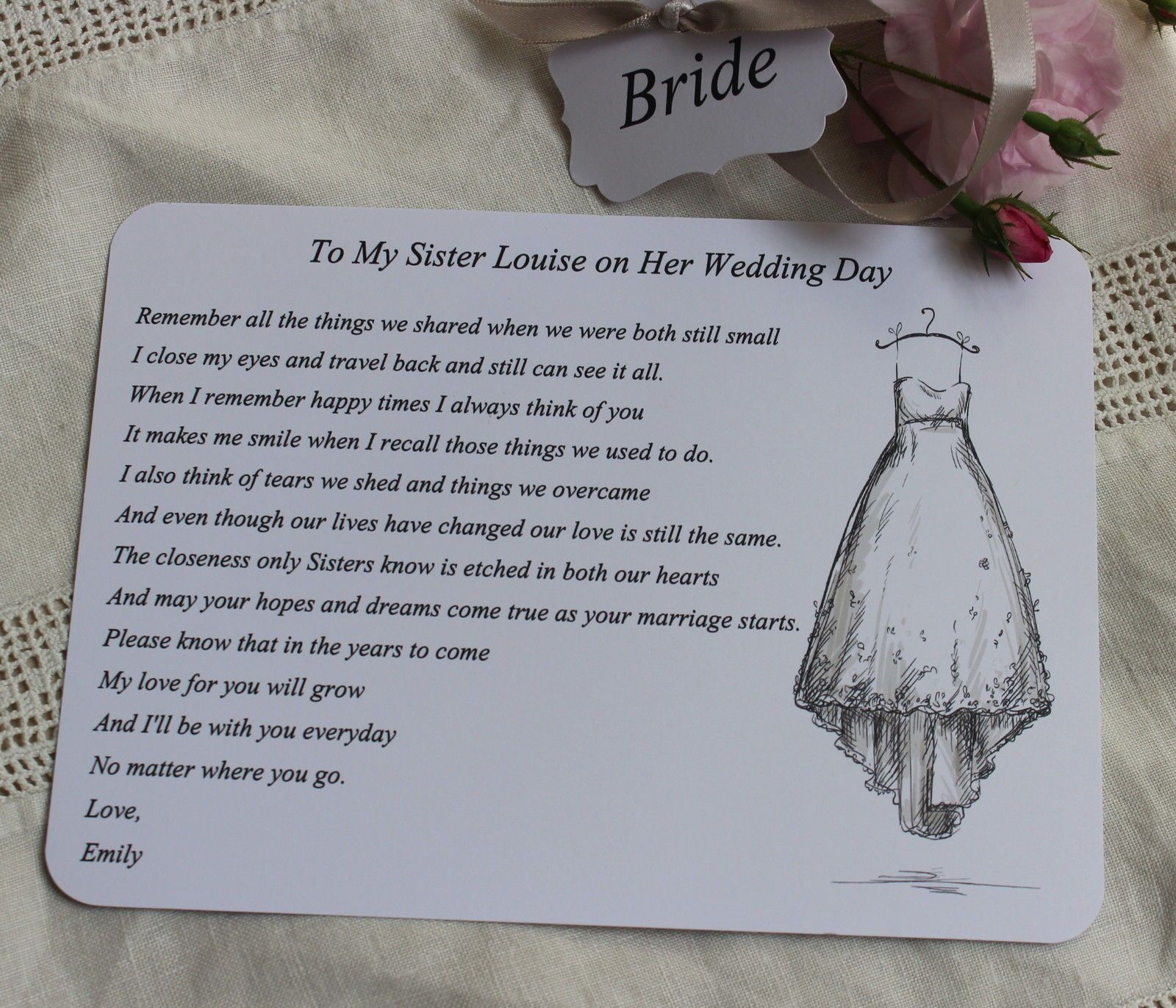 BRIDE Wedding Card For Sister Bride To Be Keepsake Poem Personalised Day
