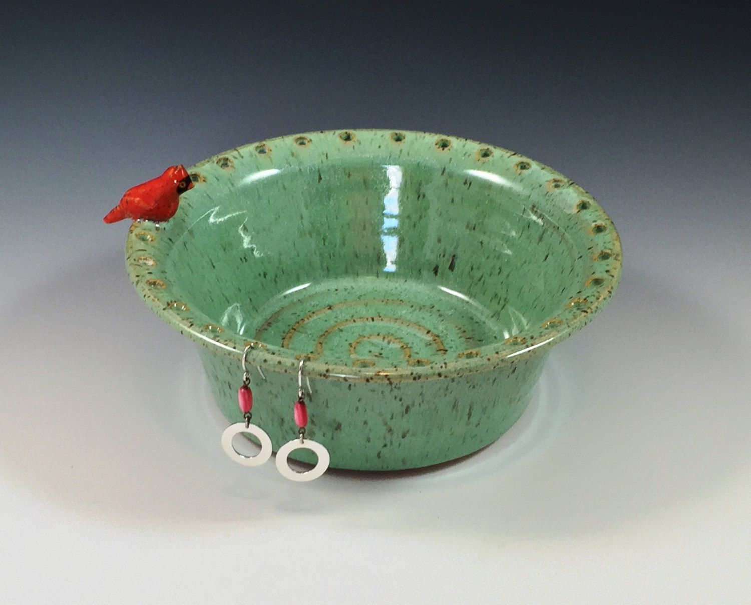 Hand thrown pottery jewelry dish with one hand-sculpted little red bird in sea spray & Hand thrown pottery jewelry dish with one hand-sculpted little red ...