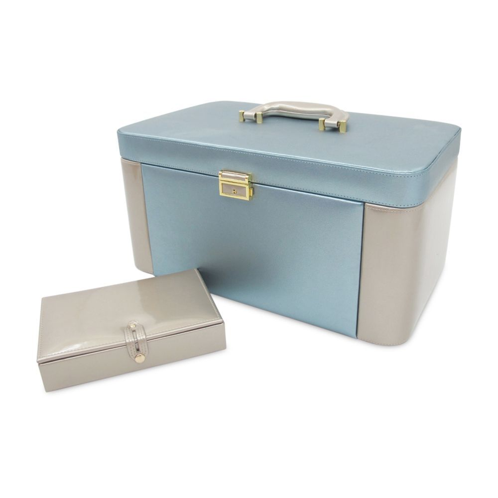 Morelle Alexis Large Leather Dual Side Pullout Jewelry Box Set Plum