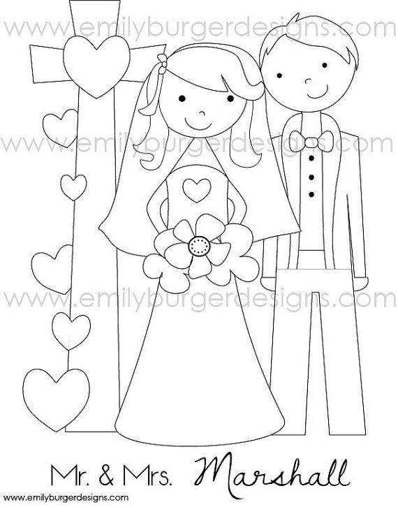 Personalized Name Kids Wedding Coloring Page Print Multiple Copies And Have The Kids C Personalized Coloring Book Kids Wedding Activities Wedding With Kids