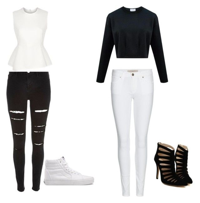 """""""Black&white collection!"""" by leaxjosiah ❤ liked on Polyvore featuring River Island, Burberry, Alexander Wang and Vans"""