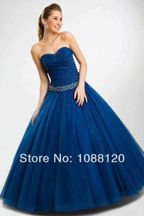 Beaded Organza Vestido De Debutante Royal Blue Quinceanera Dresses ...