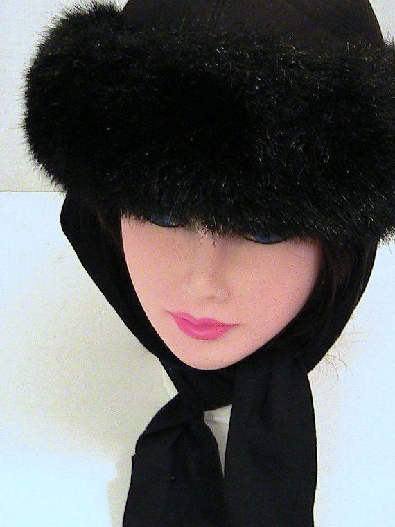 66e2de666430a Vintage Womens Faux Fur Ladies Winter Hat Attached Scarf Black Faux ...