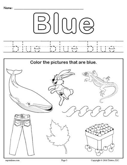 free color blue worksheet worksheets activities lesson plans for kids color blue. Black Bedroom Furniture Sets. Home Design Ideas