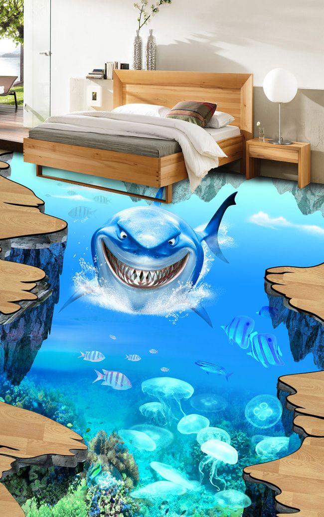 rev tement sol trompe l 39 oeil effet 3d sur mesure le requin trompe l 39 oeil pinterest les. Black Bedroom Furniture Sets. Home Design Ideas