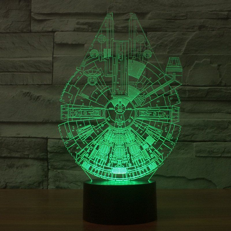 Star Wars Inspired Millennium Falcon 3d Optical Illusion Lamp 3d Optical Lamp 3d Led Night Light Star Night Light Star Wars Lamp