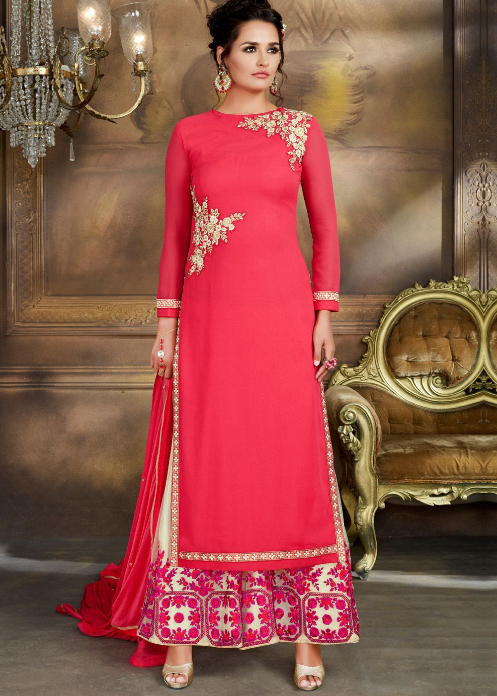 3b35fae53d #Pink straight cut #georgette #kameez with minimal resham embroidery and  lace work.