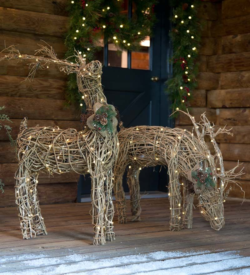 Lighted rattan reindeer are natural and rustic