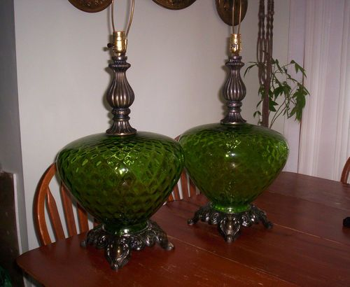 Vintage Carl Falkenstein Table Lamps Pair Green Bubble ...