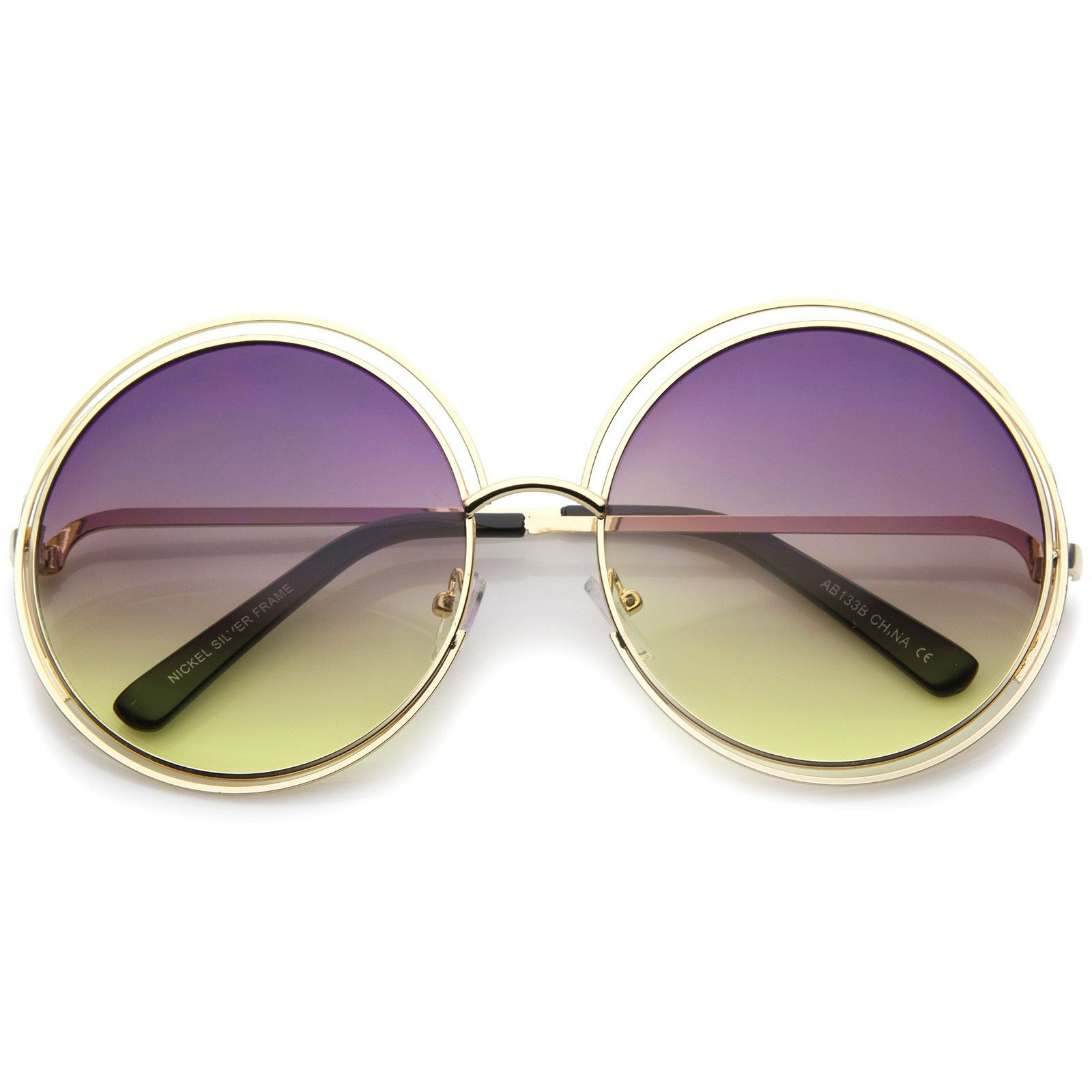 Oversize Wire Frame Gradient Two-Tone Color Lens Round Sunglasses ...