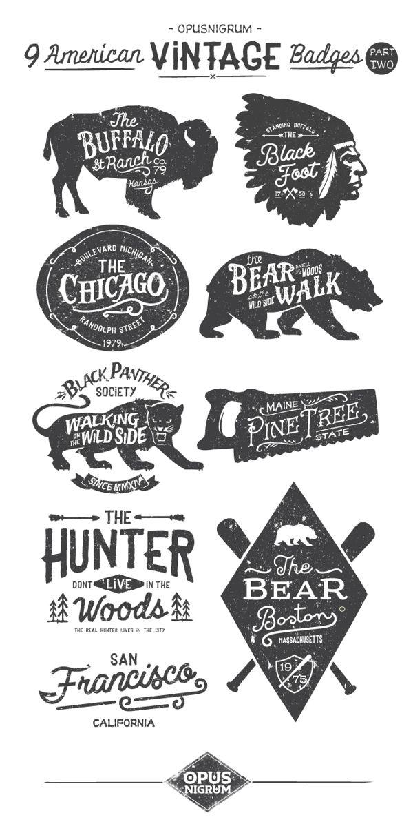 American Vintage Badges From Opus Nigrum Typography Branding Vintage Typography Logo Design