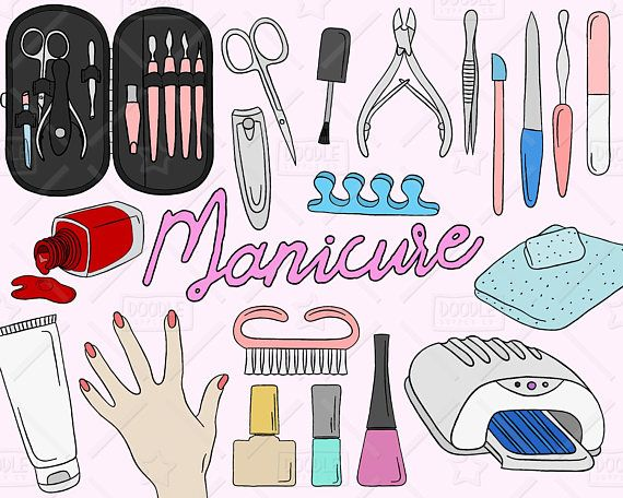 Manicure Clipart Vector Pack Manicure Doodles Beauty Clipart Nail