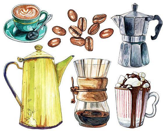 6 Watercolor Coffee Illustrations Digital Png Clipart Etsy Coffee Illustration Coffee Art Cafe Art