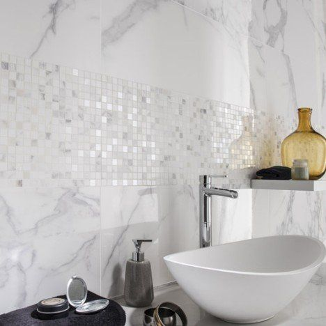 Faience Mur Marbre Blanc Carrare Brillant L 30 5 X L 91 5 Cm