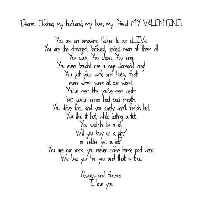 Love Letter. To My Joshua. 2/14/13. Valentine's Day. Love