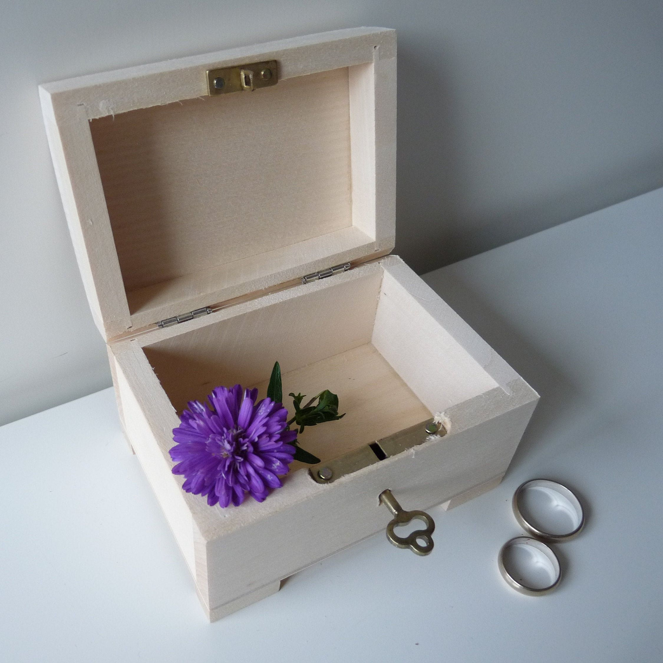 Litlle Wooden Ring Box With Key Lock Unfinished Wooden Treasure Chest With Key Unfinished Jewelry Engagement Wedding Ring Box Trinket Wooden Ring Box Wooden Rings Wedding Ring Box