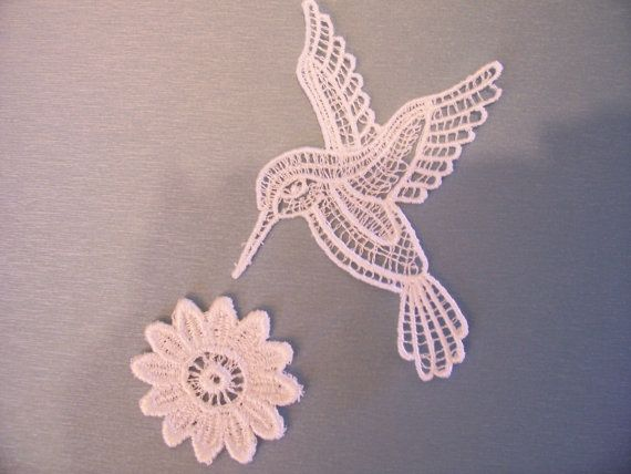 Hummingbird and flower lace applique tattoos doily tattoo