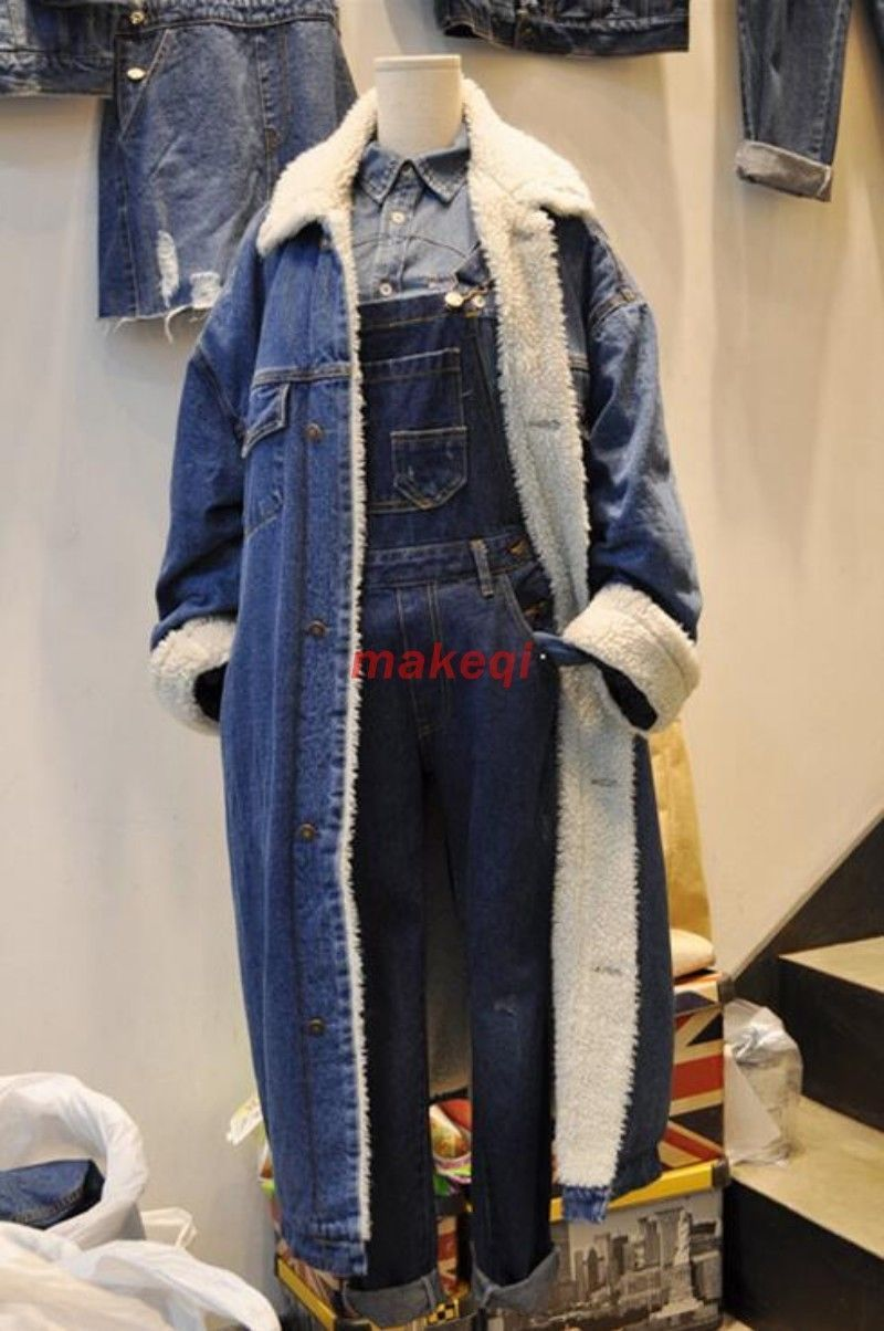 Korean womens fur lining long jacket denim overcoats thicken lamb