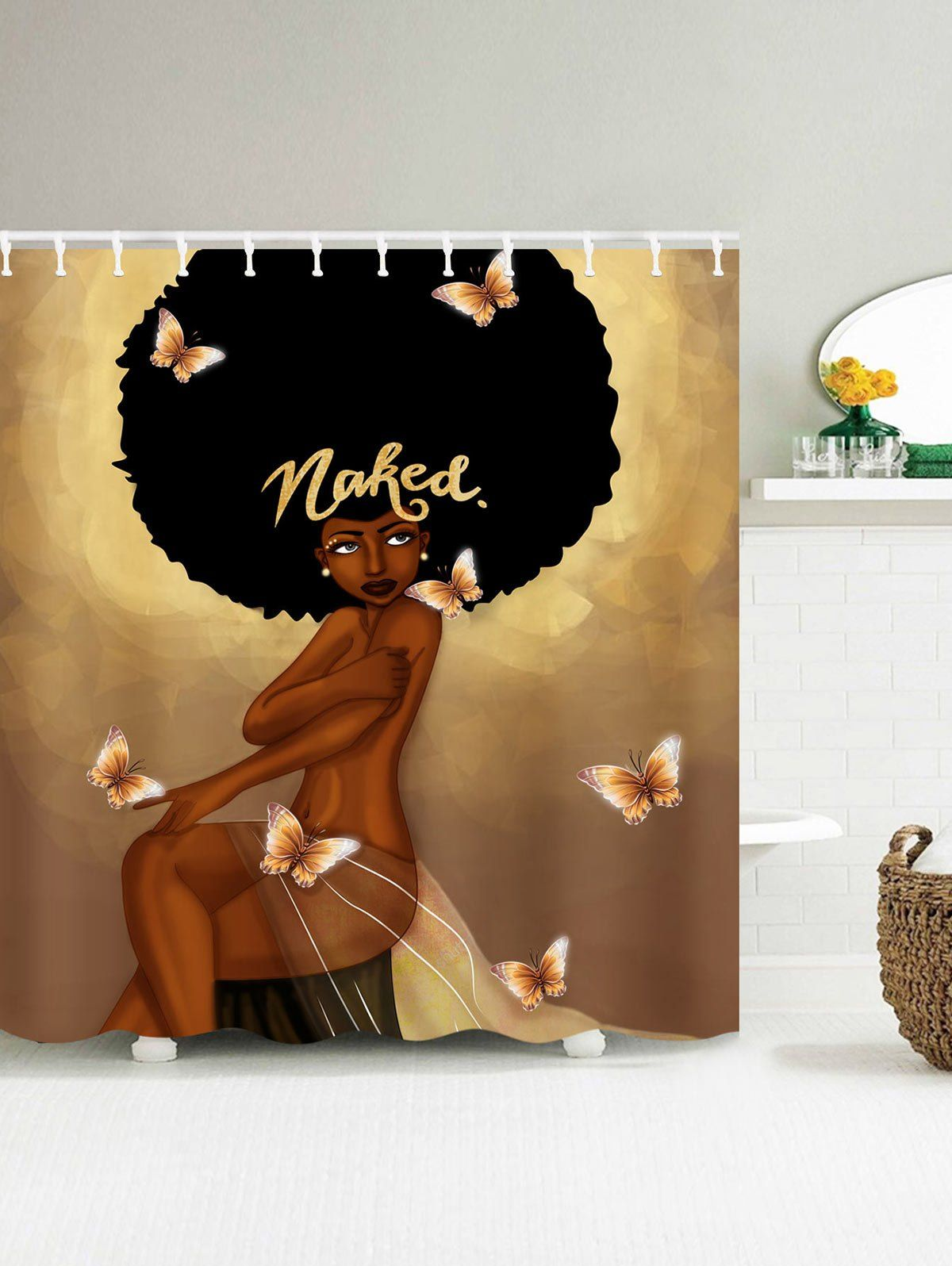 Afro Hair Fashion Girl Have A Bath Shower Curtain